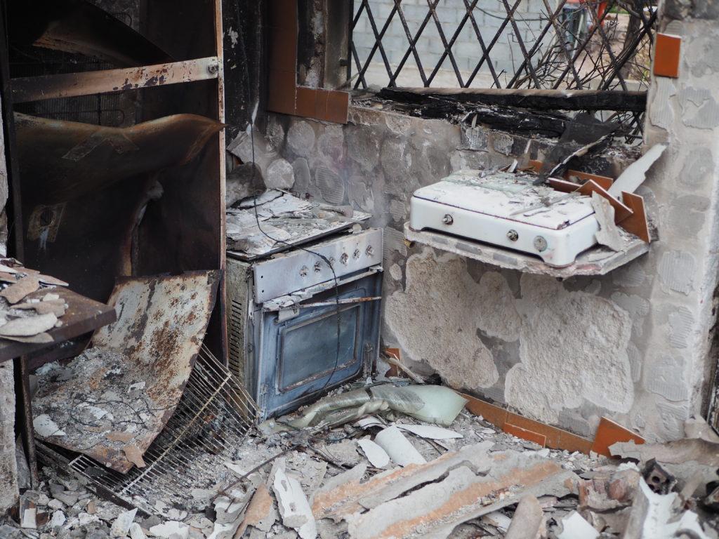 Zahlreiche Häuser liegen in Schutt und Asche.